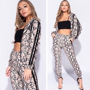 87d5305e1e16 Kalli Collection Pants - ⚡️Snakeskin Nude Track Suit